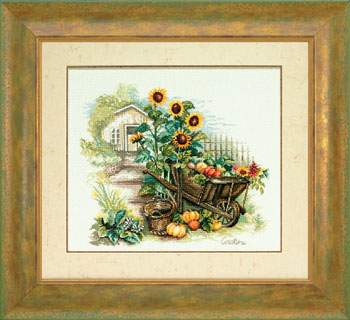 Wheelbarrow And Sunflowers By Lanarte Cross Stitch Kits