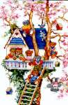 Tree House Bears - Cross Stitch Pattern