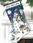 Snowman and Friends Stocking - Cross Stitch Pattern