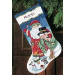Santa and Snowman Stocking - Cross Stitch Pattern
