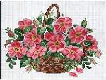 Wild Roses Basket - Cross Stitch Pattern