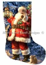 Stocking Woodland Santa - Cross Stitch Pattern
