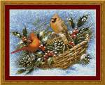 Holly Basket Cardinals - Cross Stitch Pattern