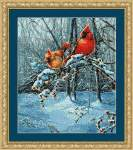 Snow Fire Cardinals - Cross Stitch Pattern