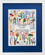 Bright Alphabet Birth Sampler