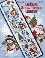 Believe Snowfriends Banner - Cross Stitch Pattern